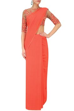 Coral shaded fringes saree with nude sequin embroidered blouse available only at Pernia's Pop Up Shop.