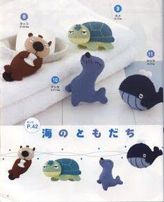 Small felt animals. Sea creatures. Love the otter!