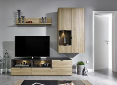 Arte-M Chase TV Unit With Wall Mounted Cabinet Available in Various Finishes