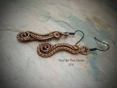 Copper Wire Weave Earrings With Garnet by Traebetruedesign on Etsy
