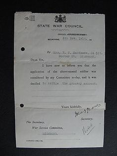 WW1 ANZAC SERVICEMAN  F V Mathews 31 Little Docker St Richmond