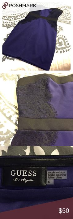 Guess cocktail dress. Strapless purple cocktail dress with black waistband and black lace detail. 95% and spandex. Fits tight to body. Zips halfway up back and closes with a hook and eye. Worn only once. Excellent condition! Guess Dresses Strapless