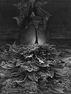 "Gustave Dore illustration from ""Rime of the Ancient Mariner"" by Samuel Taylor… Gustave Dore, Gravure Illustration, Illustration Art, Book Illustrations, Dante Alighieri, Desenho Tattoo, Scratchboard, Poster Prints, Art Prints"