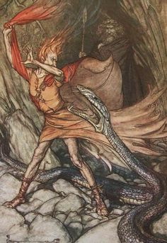 Loki, Alberich and Odin-Arthur Rackham    Loki, himself a shape-shifter, pretends to be alarmed by Alberich's ability to take the form of a serpent.  He pretends to doubt Alberich's ability to shift into smaller forms, at which Alberich transforms into a frog.  Odin and Loki then trapped the frog and stole his magical helmet.