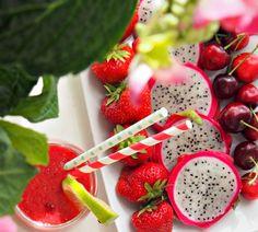 Juicesmoothie med vannmelon og bringebær