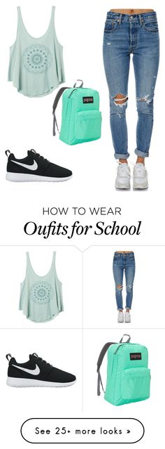 """""""Madi"""" by phia123 on Polyvore featuring Levi's, RVCA, NIKE and JanSport"""