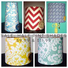 Half Pint Lamp Shades On Sale $9.99 and $11.99 @etsy @adesignstx