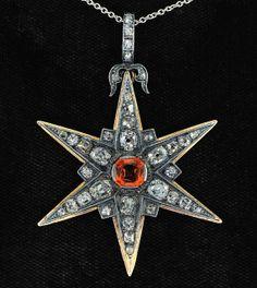 Early Victorian rare no heat natural sapphire and diamond star pendant