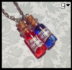 Mana Heal Potion Bottle Necklace - Geek Gamer Glass Vial Jewelry - Kawaii - Liquid in Miniature Bottle Pendant - Health Potion Bottle Jewelry, Bottle Charms, Bottle Necklace, Mini Bottle, Magic Bottles, Miniature Bottles, Potion Bottle, Glass Vials, Message In A Bottle