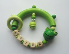 Baby Rattle/Teether personalized with name by Toysforchildren