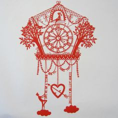 Original Hand Cut Papercut Romantic Cuckoo Clock by allcutupbydg