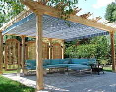 Patio Covers with Blue Awnings Decorating  Patio Covers   Transform Your Patio with Canvas Awnings Design