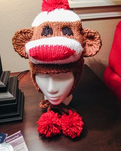 Sock Monkey hat loom knit by KalicoKat. Pattern by Kathy Norris.