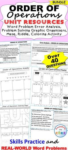 ORDER OF OPERATIONS BUNDLE -   Include 10 error analysis activities, 10 problem solving graphic organizers, 1 maze worksheet, 1 riddle worksheet, 1 coloring page activity (over 45 skills practice and real-world word problems).  Perfect for math assessments, math homework or math stations.  Topics included: ✔ Order of Operations  ✔ Write and Evaluate Numerical Expressions  ✔ Expressions with Parentheses and Exponents 6th Grade Math Middle School Common Core 6.EE.1