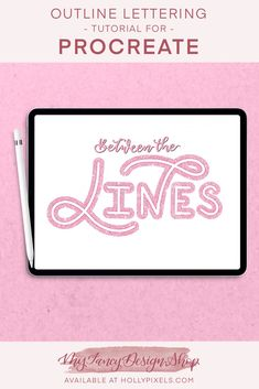 Learn how to easily create outlined lettering in Procreate with the Between the Lines Brush Set Lettering Guide, Block Lettering, Graphic Design Typography, Lettering Design, Hand Lettering Tutorial, Ipad Art, Digital Art Tutorial, Graphic Design Tutorials, Brush Set