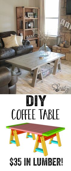DIY Coffee Table! LOVE this! Only $35 in wood! Free plans at www.shanty-2-chic.com!