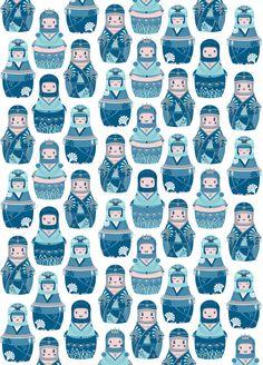 Matrioshkas Pattern Art Print