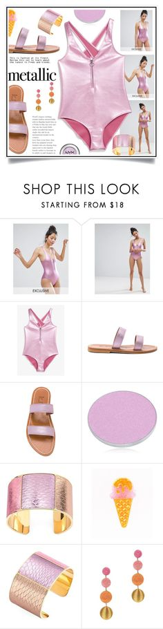 """You're Golden: Metallic Swimwear"" by ewa-naukowicz-wojcik ❤ liked on Polyvore featuring Monki, K. Jacques, Chantecaille, Aspinal of London, Suzanna Dai and metallicswimwear"