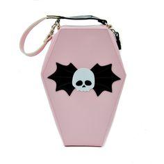 Addicted Pink Coffin Shaped Bat Skull Purse Gothic Handbag : Purses & Bags