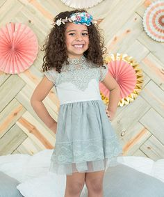 Another great find on #zulily! Gray Lace Cap-Sleeve Dress - Toddler & Girls #zulilyfinds