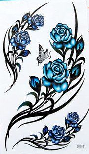 Blue roses and butterfly