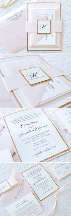 The Darling Suite - Blush, Rose Gold / Copper Glitter, and Ivory Wedding Invitation and RSVP Card Suite