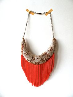 DIY statement necklace made it from lace and color fringe.