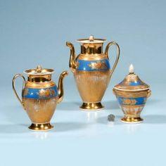Old Paris Porcelain Tea Pot, A Coffee Pot And A Co