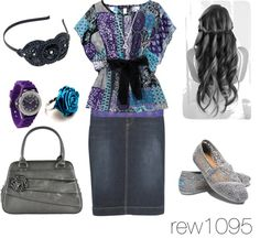 """Purple Blue & Grey casual"" by rew1095 ❤ liked on Polyvore"