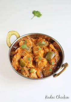 kadai chicken also called as chicken karahi or chicken kadai - Learn to make the best delicious kadai chicken recipe with step by step pictures Indian Chicken Recipes, Chicken Recipes Video, Indian Food Recipes, Healthy Recipes, Chicken Karahi, Chicken Curry, Capsicum Recipes, Curry Recipes, Kitchens