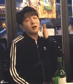 Singing sadly while drinking soju🎶🍶🤣 [logo] Btob Changsub, Cube Entertainment, Beautiful One, Just Love, Kpop, Military Service
