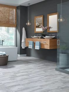 Luxury Vinyl Tile Flooring rectangles x modular Grey Flooring, Vinyl Flooring Bathroom, Grey Wood Floors, House Flooring, Wood Tile Bathroom Floor, Mannington Flooring, Grey Wood Tile, Vinyl Plank, Rectangle Tile Floor