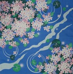 'Lily Pads and Pink Hydrangea' Furoshiki Cotton Japanese Fabric 50cm