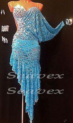 Woman Ballroom Latin Cha Cha Ramba Dance Dress US 8 UK 10 White Blue Lace in Clothing, Shoes & Accessories, Dancewear, Adult Dancewear | eBay