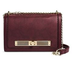 Women's Faux Leather Crossbody Handbag Burgundy - Mossimo Black, Red