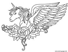 Print ornate winged unicorn flowers coloring pages