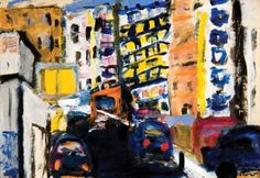 Rue du Temple, Paris  Acrylic on paper from a 1956 French book  13 by 18 1/2 inches  http://stores.ebay.com/GALLERY-ANT