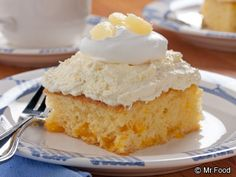 Pineapple Cream Cake  --  easy peasy recipe using yellow cake mix batter with crushed pineapple and mandarin oranges and topped with vanilla pudding-pineapple frosting.  Can be made a day or two ahead.