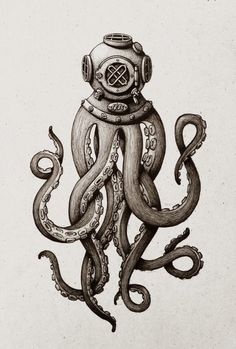 Dot & Bo - Furniture and decoration for the modern lifestyle - Octopus Diver Kunstdru . - Dot & Bo – Furniture and decoration for the modern lifestyle – Octopus Diver Art Print – - Le Kraken, Kraken Art, Motif Art Deco, Octopus Tattoos, Tentacle Tattoo, Octopus Tattoo Sleeve, Ocean Sleeve Tattoos, Tatuagem Old School, Oldschool