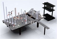 Welding table clamping elements and accessories