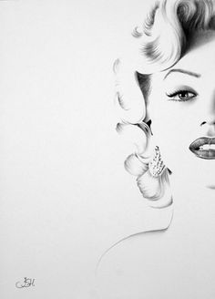 Marilyn Monroe Minimalism Pencil Drawing Fine Art Portrait Signed Print