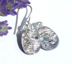 Drop Earrings, Dangle Earrings, Fused Glass Earrings, Dichroic Glass Jewelry, Salmon Pink Art Glass Earrings on 925 Sterling Silver Earwires by TremoughGlass on Etsy