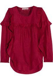 Étoile Isabel MarantSidony ruffle-trimmed slub silk top