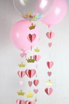Bandera de partido princesa, corazón corona guirnalda, Princecess Party decoraciones, decoraciones de fiesta real, oro brillo Decor, cola de globo Aquí es un hermoso corazón / corona garland, ideal para celebración de cumpleaños primer princesa de temática de su bebé. está hecho con
