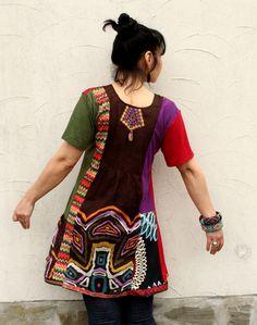 M M/L ethno hippie boho tribal recycled dress tunic par jamfashion