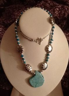 Turquoise and Silver Flower Bead Necklace