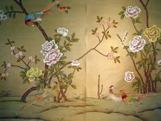 hand painted wallpaper, silk wallpaper, china wallpaper, grace silk wallpaper panel, chinoiserie style wallpaper, handmade wallpaper, exlusive wallpaper, chinese painting, chinoiserie wallpapers, chinese wallpaper