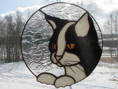 "Black and White Cat Suncatcher approx 8.25"" across $47"