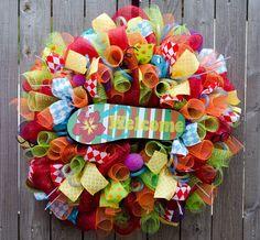 Flip Flop Wreath summertime XL deco mesh beach wreath by ourinspiredcreations on Etsy