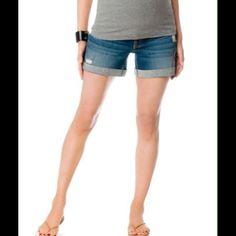 "Maternity shorts Pre loved maternity denim shorts. Cuffed hem. Brand is Indigo Blue by Motherhood. Size Small with 4"" inseam. Shorts Jean Shorts"